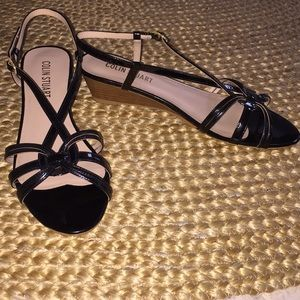 Colin Stuart Black Patent Strappy Low Wedge Sandal
